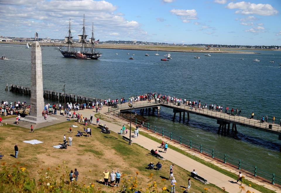 The 216-year-old USS Constitution made a ceremonial sail to Castle Island on Friday, the final unassisted trip for a while.